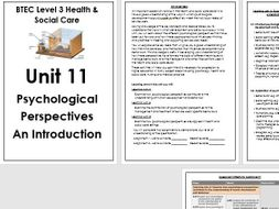 BTEC Level 3 Health and Social Care Unit 11 Psychological Perspective Introductory Booklet