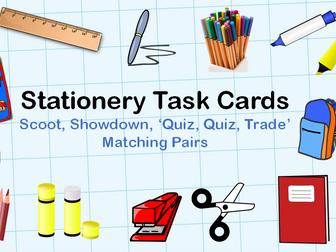 Back to school: Classroom stationery vocabulary (ESL) task cards