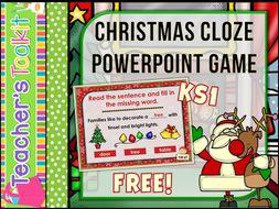 freebie christmas christmas cloze interactive fun powerpoint game