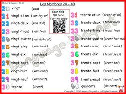 French Numbers 20 to 40 Audio Sheet
