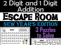 Two Digit and One Digit Addition Escape Room New Years