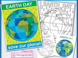 Earth Day Poster and globe doodle colourful  art activity pack