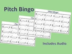 Pitch Bingo Card Game with Audio for Music Lessons
