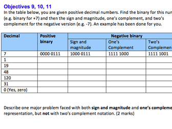 GCSE Computer Science revision - number systems  worksheet