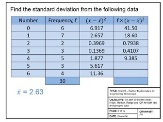Maths for Engineers - Mean and Standard Deviation
