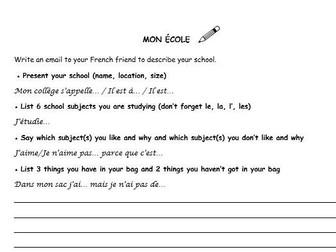 French writing tasks 3 topics (family, hobbies, school)