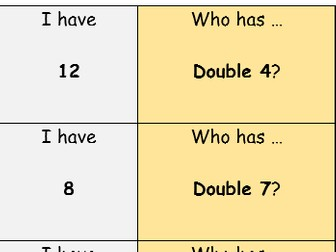 Doubles and halves loop game