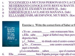 Saber vs. Conocer Worksheet (Spanish)