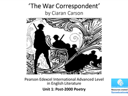 A Level Poetry: 'The War Correspondent' by Ciaran Carson