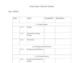 AQA Physics Paper 1 Topic Lists +Practicals