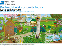 Welsh bilingual Let's Talk Nature with scenes to start conversations and develop vocabulary.