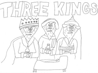 Three Kings: Christmas Nativity Colouring Page