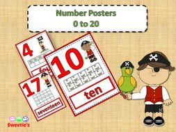 Number Posters 0 to 20 with Ten Frames - Pirate Theme