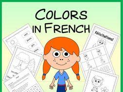 French Color Vocabulary Sheets, Printables, Memory & Bingo Games