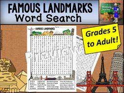 Famous Landmarks Word Search - Hard for Grades 5 to Adult