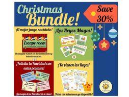 Pack Navidad. Christmas Bundle. Navidad Escape room, Reyes Magos worksheet and lesson and Spanish Christmas Cards