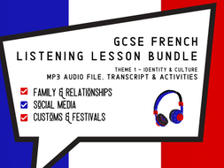 French GCSE Listening Lessons Bundle - Family, Social Media and Festivals