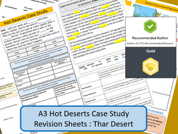 AQA GCSE 9-1 : Thar Desert, Hot Deserts, A3 Double Sided Revision Sheet.
