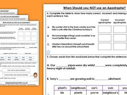 Grammar Year 4 When Should you not use an Apostrophe? Spring Block 1 Homework Extension