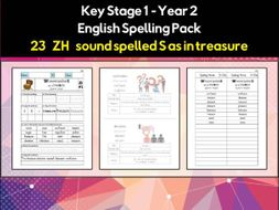 English Spelling and Phonics Pack - 'ZH' sound spelled S as in ...