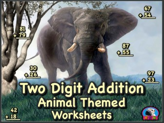 Two Digit Addition - Animal Themed Worksheets - Vertical