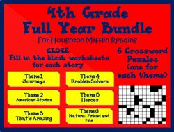 Houghton Mifflin 4th Grade Full Year Cloze Worksheets and Crossword Puzzles
