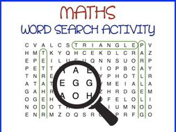 Maths Word Search with something extra (Names of Shapes)