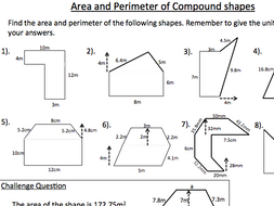 Area and Perimeter of Compound Shapes Worksheet - KS3 Mathematics by ...