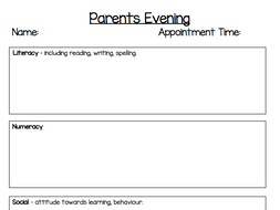 Parents Evening Meeting Template - Primary