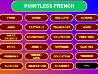 Pointless GCSE French Vocabulary Game