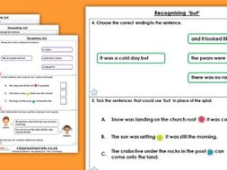 Grammar Year 1 Recognising But Spring Block 1 Homework Extension