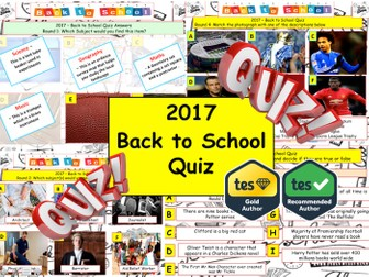 2017 - Back to School Quiz- 7 rounds & 40 Questions. Start or End of term Quiz. Sports literacy etc.