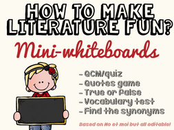 How to make literature fun? Episode 1 - Mini-whiteboards - Based on No et moi but EDITABLE & FREE