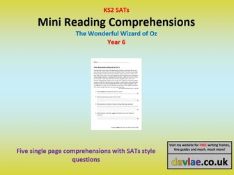 Mini Reading Comprehensions - The Wonderful Wizard of Oz