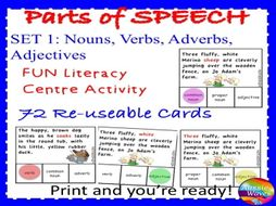 parts of speech centre activities set 1 can you identify nouns