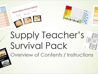 'Supply Teacher's Survival Kit'  BUMPER BUNDLE OF RESOURCES