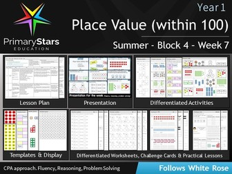 YEAR 1 - Place value within 100 - WEEK 7 - Block 4 - Summer- Differentiated Pack