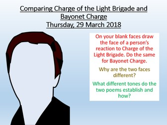charge of the light brigade bayonet charge 'the charge of the light brigade' (being remembered/ following orders) 'london'  (the  'bayonet charge' (impact of war on the individual/ mid battle/ nobility.