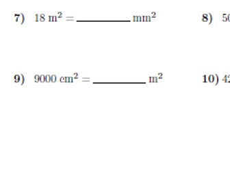 Converting metric units of area worksheet (with answers)