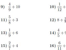 Dividing whole numbers and fractions worksheet (with