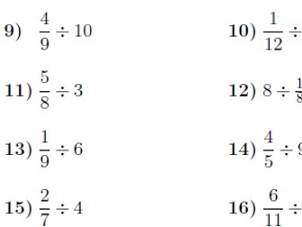 Dividing whole numbers and fractions worksheet (with solutions)