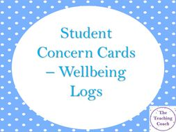 Student Staff Log Concern Cards - Wellbeing Pastoral Issues Friendship Bullying