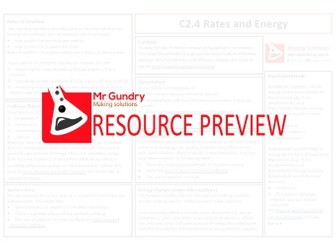 AQA C2.4 Rates and Energy Revision Sheet