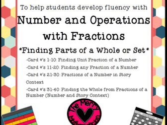 "Differentiated Task Cards ""Fractions of a Whole"""