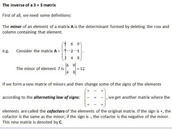 Edexcel Further Core Pure AS Topic 4: Matrices