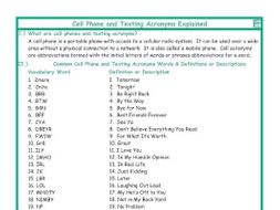 Cell Phone and Texting Acronyms Explanation-Definitions