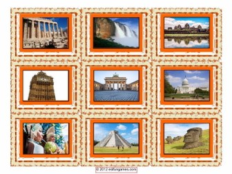 Vacations & Sightseeing Spot Cards 4 Pages = 36 Cards