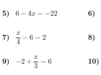 Two-step equations worksheet no 3 (with solutions)