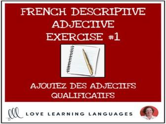 French Descriptive Adjectives Exercise #1 - Ajoutez un adjectif qualificatif