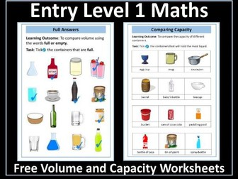 Volume and Capacity Worksheets: AQA Entry Level 1 Maths